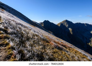 slovakian carpathian mountains in autumn. nice day for hiking. view from above the clouds