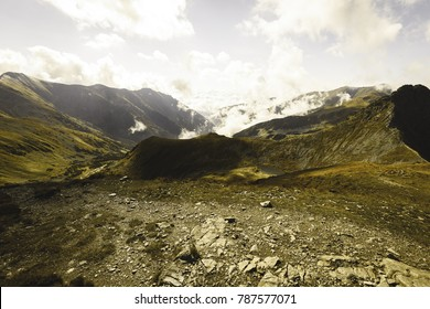slovakian carpathian mountains in autumn. nice day for hiking. view from above the clouds - vintage film look