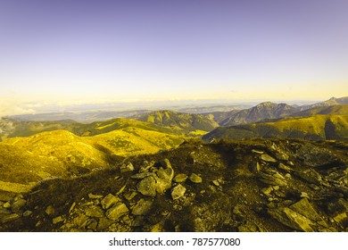 slovakian carpathian mountains in autumn. nice day for hiking. far horizon with soft clouds - vintage film look