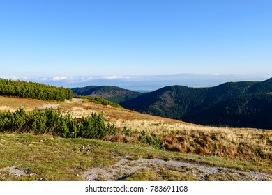 slovakian carpathian mountains in autumn. sunny hill tops in summer. nice day for hiking