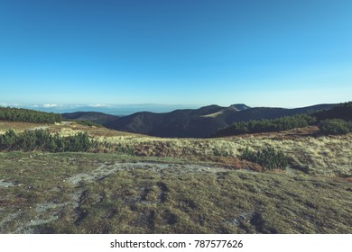 slovakian carpathian mountains in autumn. sunny hill tops in summer. nice day for hiking - vintage film look
