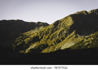 slovakian carpathian mountains. sunny hill tops in summer at sunrise. nice day for hiking - vintage film look