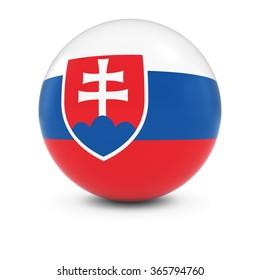 Slovakian Flag Ball - Flag of Slovakia on Isolated Sphere