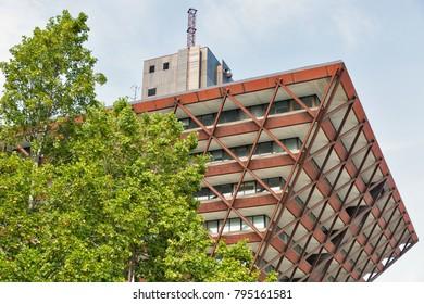 Slovakian radio and television building in Bratislava downtown, Slovakia.
