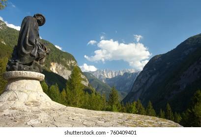 Slovenia - 8-5-2017: Statue of a famous Slovenian writer and climber Julius Kugy