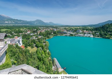 Slovenia, Bled, Lake Bled and Bled Town View from Bled Castle