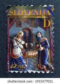 Slovenia - circa 2001 : Cancelled postage stamp printed by Slovenia, that shows Nativity scene celebrating Christmas 2001, circa 2001.