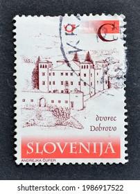 Slovenia - circa 2001 : Cancelled postage stamp printed by Slovenia, that shows Dobrovo castle, circa 2001.