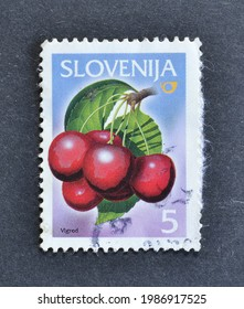 Slovenia - circa 2001 : Cancelled postage stamp printed by Slovenia, that shows Cherry blossom, circa 2001