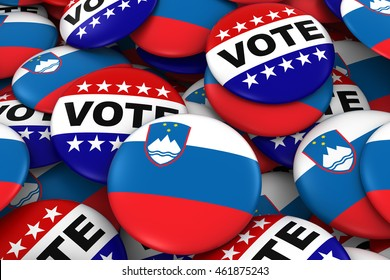 Slovenia Elections Concept - Slovenian Flag and Vote Badges 3D Illustration