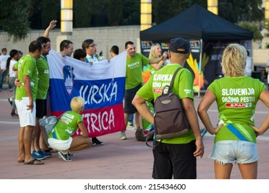 Slovenia fans before match Round of 16 Basketball Worldcup, Slovenia vs Dominicana Republic Basketball Worldcup, match on September 6, 2014, in Palau Sant Jordi stadium, Barcelona, Spain.