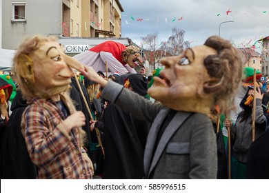 SLOVENIA - FEBRUARY 23th 2017: Famous carnival parade called PUST opening ceremony in Cerknica, Slovenia.