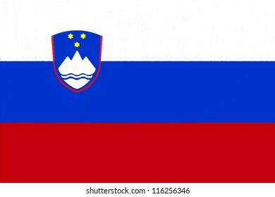 Slovenia flag drawing by pastel on charcoal paper