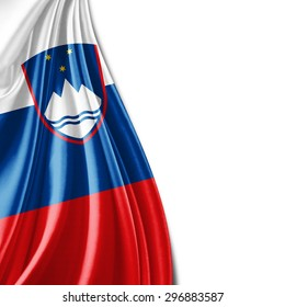 Slovenia flag  of silk with copyspace for your text or images and white background