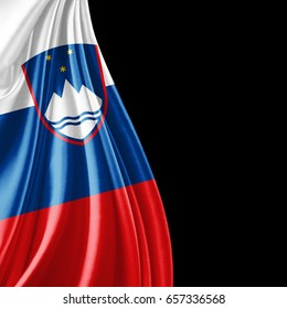 Slovenia flag  of silk with copyspace for your text or images and black background-3D illustration