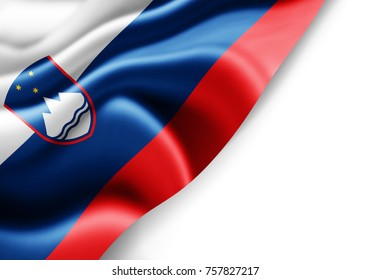 Slovenia flag of silk with copyspace for your text or images and white background -3D illustration