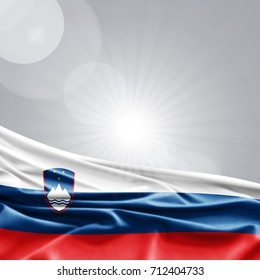 Slovenia flag of silk,sky with copyspace for your text or images-3D illustration