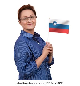 Slovenia flag. Woman holding Slovenian flag. Nice portrait of middle aged lady 40 50 years old with a national flag isolated on white background.Learn Slovenian language. Visit Slovenia concept.