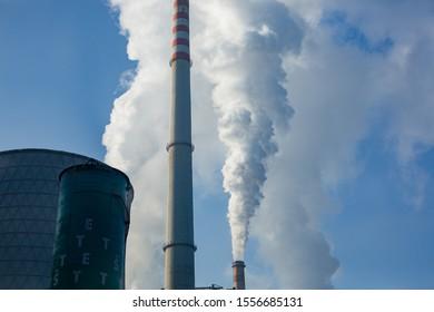 Šoštanj, Slovenia - January 28, 2017: Smoking chimneys of the Šoštanj thermoelectric plant in Slovenia.