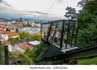 Slovenia, Ljubiljana, 09.13.2018. riding up to the castle in a funicular railway is one of the main attractions of Ljubiljana,