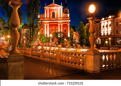 Slovenia. Ljubljana. Beautiful night view of the capital of Slovenia. The central part of the city Ljubljana. Preseren Square and Triple Bridge. The capital of Slovenia.