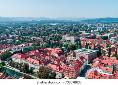 Slovenia, Ljubljana - panoramic view from the top of The Ljubljana Castle. Summer noon sun photo.