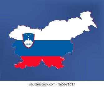 Slovenia map background on blue