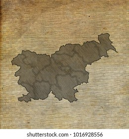 Slovenia map old sketch hand drawing on vintage background