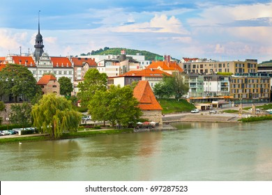 SLOVENIA, MARIBOR - JULY 18: Skyline of Maribor city in the sunny day, Slovenia on July 18, 2014