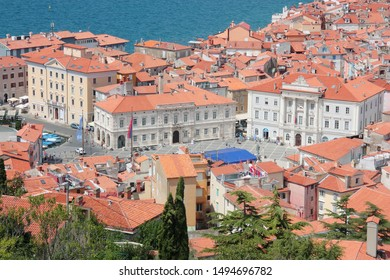 SLOVENIA, PIRAN - JULY 26 2017 Aerial view of Piran main square with typical red roofs Slovenia.