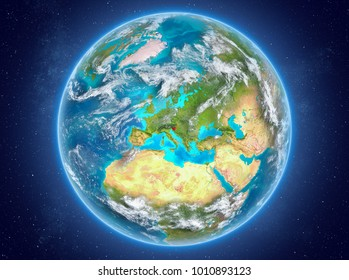 Slovenia in red on model of planet Earth with clouds and atmosphere in space. 3D illustration. Elements of this image furnished by NASA.