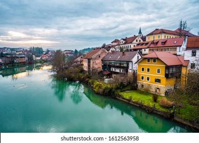 Slovenia river during the sunset  Novo Mesto, Slovenija