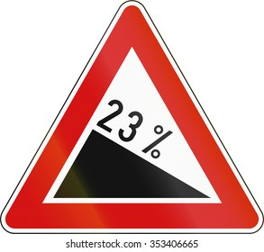 Slovenia road sign - Steep hill downward.