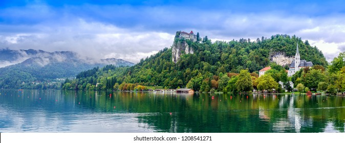 Slovenia travel Bled lake,Bled castle, top of the rock mountain and st. Martin's church the destination of Slovenia Eastern Europe.