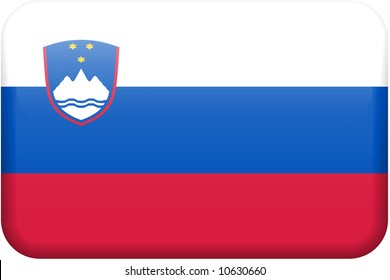 Slovenian flag rectangular button.  Part of set of country flags all in 2:3 proportion with accurate design and colors.