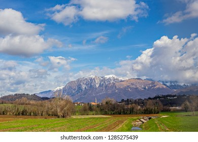 Slovenian spring mountain landscape. Slovenian Alps on sunny day.