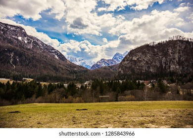 Slovenian spring mountain landscape. Slovenian Alps on cloudy day. Slovenia Kranjska Gora mountain resort.