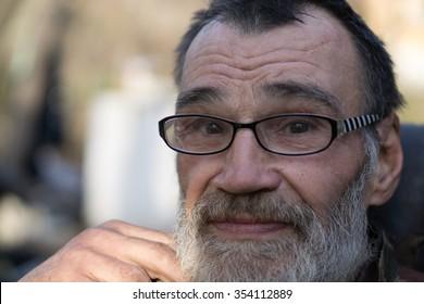 slovenly homeless man portrait