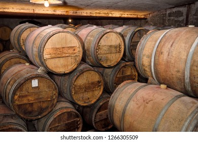 Slovrenc, Brda, Slovenia - June 17, 2017: Constant temperature arched cellar with French barrique oak barrels at Kabaj Morel Guest House and winery Slovrenc Dobrovo Brda Slovenia