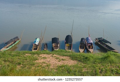 Slow boats parking on Mekong riverside,Khong Chiam District,Ubon Ratchathani Province,North East Thailand.