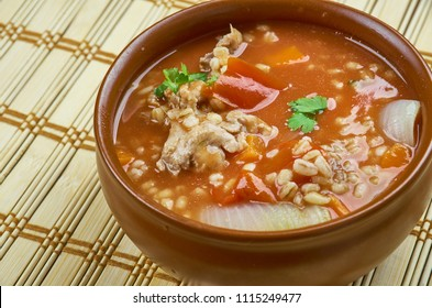 Slow Cooke Mexican beef  Barley Soup close up