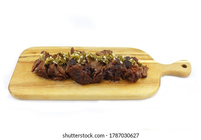 Slow cooked lamb with chimichurri on top