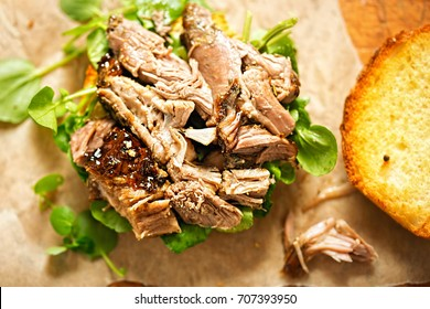 Slow cooked lamb & watercress burger