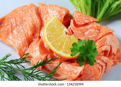 Slow cooked salmon with lemon and herbs