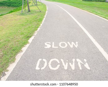 Slow Down word painted on the asphalt path bicycle lane.