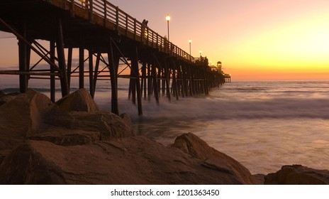 Slow exposure of sunset at the Oceanside Pier
