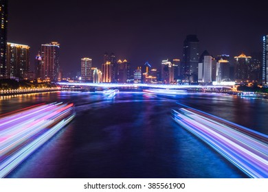 slow motion cruise light trail night view