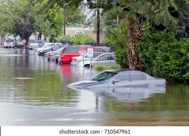 Slow moving storms like Harvey (2017) and Florence (2018) bring significant flooding to populated areas. Water could enter the engine, transmission parts or other places. Severe weather concept.