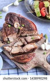 Slow Roasted Pork with Grilled Vegetables.