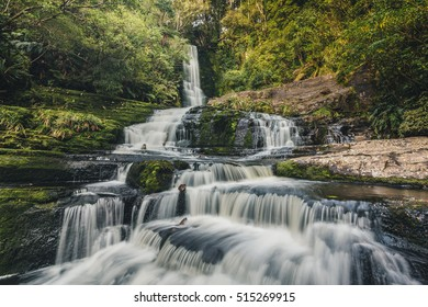 Slow Shutter of Mclean Falls, Catlins, South Island, New Zealand